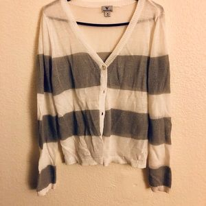 White and gray striped cardigan.
